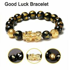 Feng Shui Black Obsidian Pixiu Alloy Bracelet Attract Wealth & Good Luck Jewelry