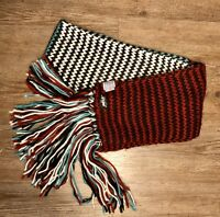 Life Is Good Multi Color Knit Fringed Winter Fashion Scarf Black Red Aqua White