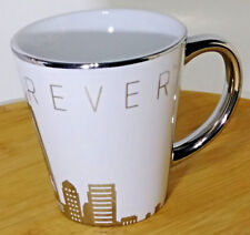 See Forever Coffee Mug Tea Cup 12 fl oz White with silver Metro Skyline
