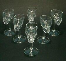 6 Pc CRYSTAL SCULL HUMAN HEAD BONES ART GLASS 2oz MAN CAVE SHOT GLASSES STEM