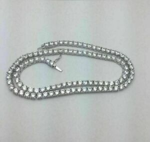 """Round Diamond Tennis Necklaces 18"""" 925 Sterling Silver Necklaces Best Quality"""