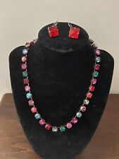 Sabika Multi Color Swarovski Crystal Choker Necklace and Earnings Red/Pink