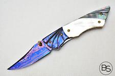 CUSTOM HANDMADE FOLDING KNIFE COLOR DAMASCUS STEEL WHITE & BLACK PEARL SCALE