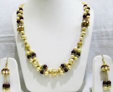 Trendy Beaded Necklace Set with Golden Pearls and gemstone Kundan Polki beads