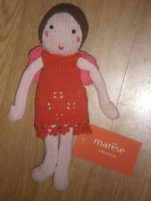 Doudou peluche POUPEE doll puppe FILLE armel MARESE berceuse rose rouge 21 cm 9