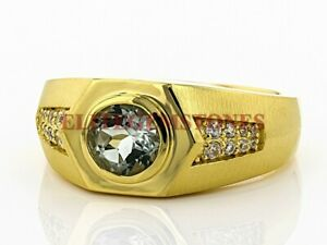 Natural Aquamarine Gemstone with Gold Plated 925 Sterling Silver Mens Ring #2221