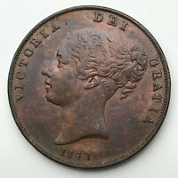 Dated : 1841 - Copper Coin - One Penny - Queen Victoria - Great Britain