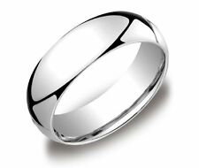Mens Womens Solid 14K White Gold Plain Wedding Ring Band 7MM size 10