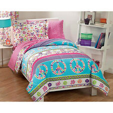 GIRLS BED IN A BAG COMFORTER SET PINK BLUE AQUA PEACE SIGN HEARTS FLORAL - TWIN