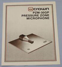 RARE_CROWN  PZM-30GP Pressure Zone Microphone  Original 2-page  Sales Brochure