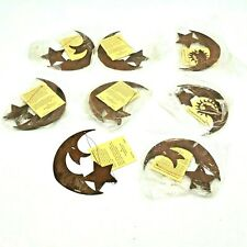 Decor Set of 8 Metal Half Moon Ornaments Decorations Star Care and Wonder