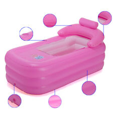 Pink Folding Travel Warm Inflatable Soa Bath Tub Blowup Adult Spa Portable New