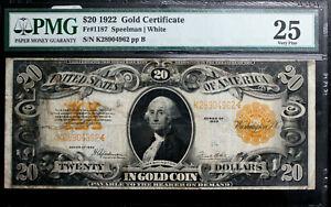 1922 $20 GOLD CERTIFICATE PMG 25 Fr 1187  SPEELMAN WHITE