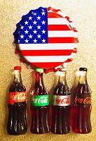 3D Coca Cola Fridge Magnet Lot Handcraft 👻🧲 (4) Coke Bottles Mini Style