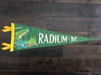 Vtg Radium British Columbia Pennant Felt Banner 1960's Canada Souvenir BC