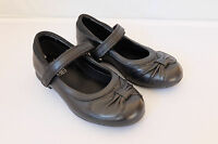 Clarks Little Girls Dolly Glitz Black Leather School Shoes Bow Detail