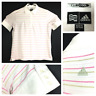 Adidas Womens Large White Pink Olive Green Striped S/S ClimaCool Golf Polo Shirt