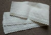 Antique Embroidered Eyelet Cotton Flounce Lace Salvage 49""