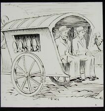Glass Magic Lantern Slide COMIC SKETCH WITH CART C1910 DRAWING