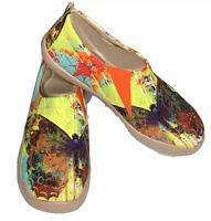 "UIN Art Of Walk Canvas ""Mottled Butterfly"" Slip On Shoes~EU 41/US 9 ($70) NWB"