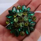 RARE+Vintage+Antique+2%22+Weiss+Green+Rhinestone+Brooch+Pin+Jewelry+Signed+NICE+NR