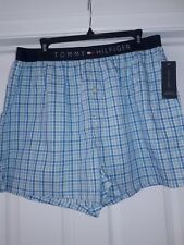 MENS TOMMY HILFIGER BLUE CHECK BOXER SHORTS BNWT, size LARGE orig from USA