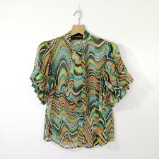 MODALISTAS NEW YORK Blouse Top Size L Pussycat Bow Oversized Ruffle Puff Sleeves