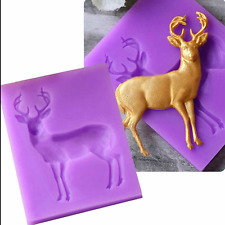 3D Buck Deer Elk Shape Fondant Mould Cake Decor Chocolate DIY Mold Silicone