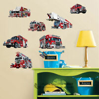 Set of 7 Pcs Firetrucks Kids Boys Wall Stickers Nursery Decal Decor Art Mural AU