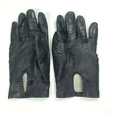 Vintage Black Leather Womens Gloves 100% Silk Lined Made In Italy Size 7.5 12962