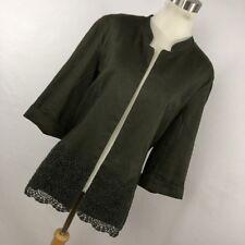 Coldwater Creek 14 Blazer Jacket Moss Green Linen Blend Crochet Open Front P3