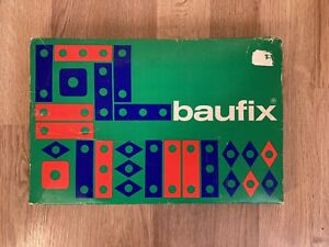Baufix Vintage Wooden Construction Building Set Toy West Germany Manual Box Nuts