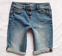 BNWT NEXT Ladies light blue wash distressed denim knee shorts stretch 6-18