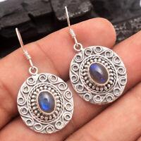 HANDMADE 925 Solid Sterling Silver Indian Jewelry LABRADORITE Gemstone Earring