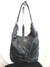 Authentic Burberry Large Black Ruched Lambskin Leather Hobo Shoulder Handbag