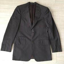John Varvatos Brown Blue Striped Blazer Jacket Sport Coat Mens US Size 40L Long