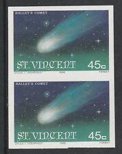 St Vincent 2987 - 1986 HALLEY'S  COMET 45c  IMPERF PAIR unmounted