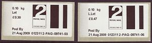 2009 early Post & Go type stamps. 2nd class letter & large letter rates.