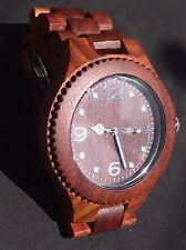 Para Hombres Reloj De Madera Rosa Real Bewell ZX movimiento de cuarzo analógico de Japón y fecha de exhibición