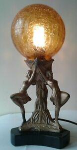 Antique Solid Bronze Art Deco 3 Flapper Girls Nudes Lamp  Marble base