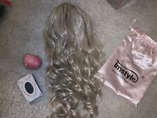 Imstyle White Ash Blonde Synthetic Lace Front Wig, Brush And Cap Included,23inch
