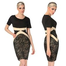 """KRISTA"" BEAUTIFUL LADIES SIZE 10 BLACK & NUDE LACE FITTED STRETCH PENCIL DRESS"