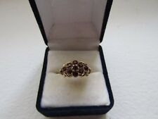 Original Victorian 9ct solid gold garnet cluster flower ring, beautiful setting