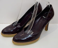 GUCCI Purple Burgundy Vernice Diamond Patent Leather High Platform Court Shoes