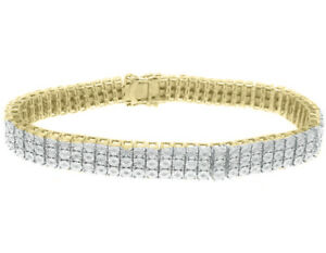 "Men's Ladies 3 Row Genuine Real Natural Diamond .37 ct Tennis Bracelet 8.5"" New"