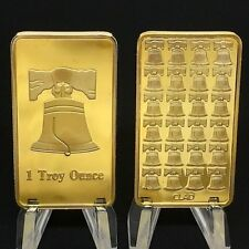 Liberty Bell Bar One Troy Ounce 24K 999 Fine Gold Clad Bars Collection