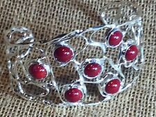 Sterling Silver Cuff Bracelet Taxco, Mexico Contemporary Style Dyed Red Coral