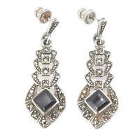 Vintage Art Deco Ohrringe Silber 925 mit Onyx + Markasit