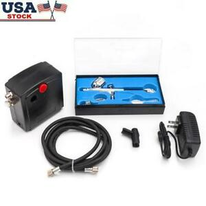 Portable Airbrush Compressor Kit Dual Action Spray Air Brush Nail Tattoo Tool