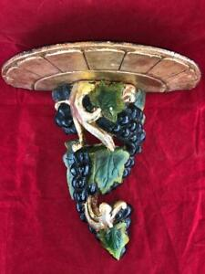 GOOD ANTIQUE WOODEN HAND CARVED FRUITING VINE WALL SCONCE / BRACKET. #2
